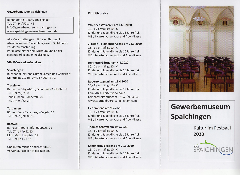 "Flyer ""Kultur im Festsaal"" 2020"